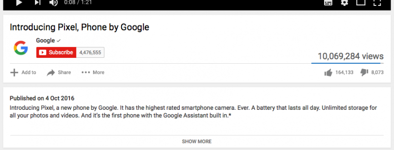 Branded Viral Video - Google Pixel's YouTube description